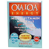 Ola Loa, Мульти витамины и минералы для энергии с тропическим вкусом, 30 пакетов, (7.1 г) каждый, купить, цена, отзывы