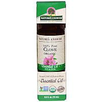 Nature's Answer, Органические эфирные масла, масло гвоздики, 0,5 жидких унций (15 мл), купить, цена, отзывы