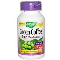 Nature's Way, Зеленые бобы кофе, одного размера, 500 мг, 60 вегетарианских капсул, купить, цена, отзывы