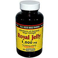 Y.S. Eco Bee Farms, Маточное молочко мега-силы, 1000 мг, 60 мягких капсул, купить, цена, отзывы