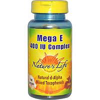Nature's Life, Комплекс Мега Е, 400 МЕ, 100 мягких желатиновых капсул, купить, цена, отзывы