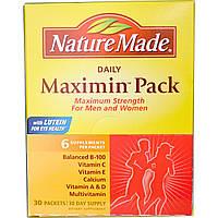 Nature Made, Daily Maximin Pack, поливитамины и минералы, 6 ингредиентов в пакетике, 30 пакетиков, купить, цена, отзывы