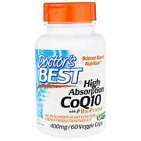 Doctor's Best, Коэнзим Q10 с высокой степенью поглощения, с биоперином, 400 мг, 60 растительных капсул, купить, цена, отзывы
