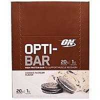 Optimum Nutrition, Высокопротеиновый Батончик Opti-Bar, Вкус Печенья с Кремом, 12 батончиков, по 2,1 унции ( 60г) каждый, купить, цена, отзывы