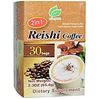 Longreen Corporation, 2 в 1 быстрорастворимый колумбийский кофе с экстрактом гриба рейши, 30 пакетиков по 65.4г каждый, купить, цена, отзывы