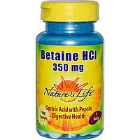 Nature's Life, Betaine HCI, 350 mg, 100 Tablets, купить, цена, отзывы