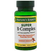 Nature's Bounty, Супер комплекс витаминов В с фолиевой кислотой и витамином С, 150 таблеток, купить, цена, отзывы