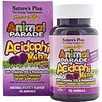 Nature's Plus, Source of Life, Animal Parade, AcidophiKidz , детские жевательные конфеты, натуральный ягодный вкус, 90 жевачек в форме животных,