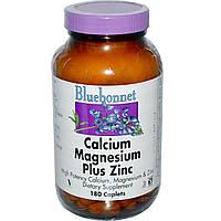 Bluebonnet Nutrition, Кальций, магний + цинк, 180 капсул, купить, цена, отзывы