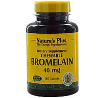 Nature's Plus, Бромелайн, жевательные, 40 мг, 180 таблеток, купить, цена, отзывы