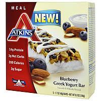 Atkins, Батончик с греческим йогуртом, черника, 5 батончиков, 1.7 унций (48 г) каждый, купить, цена, отзывы