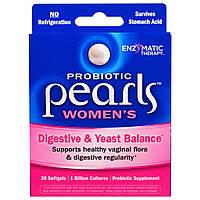 Enzymatic Therapy, Пробиотические горошины для женщин, поддерживающие пищеварительную систему и микрофлору, 30 мягких капсул, купить, цена, отзывы
