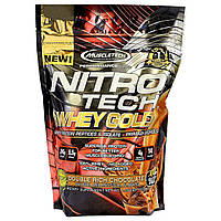 Muscletech, Nitro Tech 100%-ный Сывороточный Золотой Белок, Двойной Шоколад, 1,00 фунта (454 г), купить, цена, отзывы