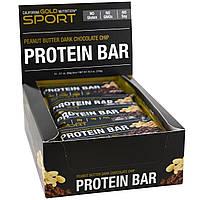 California Gold Nutrition, СПОРТ, протеиновый батончик с арахисовым маслом и шоколадной крошкой, 12 батончиков по 2,1 унции (60 г ), купить, цена,