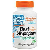 Doctor's Best, Лучший L-триптофан, 500 мг, 90 растительных капсул, купить, цена, отзывы