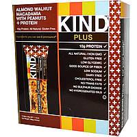 KIND Bars, Kind Plus, Фруктово-ореховые батончики с миндалем, грецким орехом, макадамией и ананасом, обогащенные белком, 12 батончиков, 1,4унции,