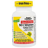 """Super Nutrition, """"SimplyOne"""", мультивитаминный комплекс тройной концентрации для женщин 50+, без железа, 30 таблеток, купить, цена, отзывы"""