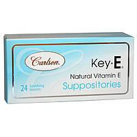 Carlson Labs, Суппозитории Key•E, с натуральным витамином E, 24 успокаивающих свечи