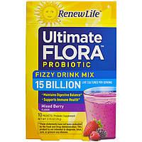 """Renew Life, """"Неотъемлемая флора"""", пробиотик, газированный напиток, ягодный вкус, 10 пакетиков, 2,75 унций (78 г)"""