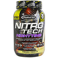 Muscletech, Nitro Tech, ночной протеин, французская ваниль, 2 фунта (907 г)