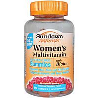 Sundown Naturals, Женский мульти витаминный комплекс, без глютена, со вкусом малины, 60 жевательных таблеток