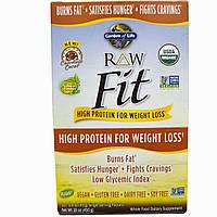 Garden of Life, RAW Fit, протеин с высоким содержанием белка для снижения веса, шоколад и какао, 10 порционных пакетиков - 1.6 унции (45 г) каждый