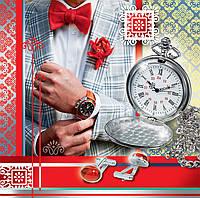 Бумажный подарочный пакет под Чашку - Костюм+часы