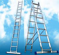 Лестницы алюминиевые универсальные двухсекционная
