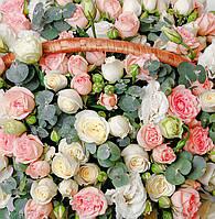 Бумажный подарочный пакет Квадрат - Большой букет роз
