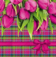 Бумажный подарочный пакет Квадрат - Розовые тюльпаны