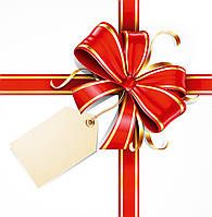 Бумажный пакет Квадрат - Бант красный