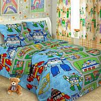 Ткань для постельного белья поплин Поли робокар