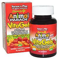 Nature's Plus, Source of Life, «Парад животных», Витагели, добавка с мультивитаминами и минералами, натуральный вишневый вкус, 90 мягких желатиновых