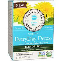Traditional Medicinals, Organic EveryDay Detox Tea, Dandelion, 16 Wrapped Tea Bags, .05 oz (1.5 g)