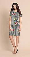 Платье красивое Bazalini-2751 белорусский трикотаж из ткани Хлопок цвета полоски с цветами