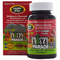 Nature's Plus, Source of Life, «Парад животных», детская жевательная добавка с мультивитаминами и минералами, без сахара, натуральный вишневый вкус,