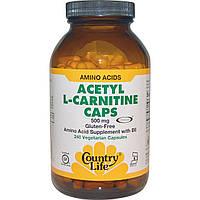 Country Life, Ацетил-L-карнитин, 500 мг, 240 растительных капсул
