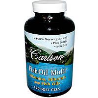 Carlson Labs, Рыбий жир с мульти витаминами, 120 капсул