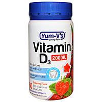 Yum-V's, Витамин D3 для взрослых, Клубничный вкус, 2000 МЕ, 60 штук