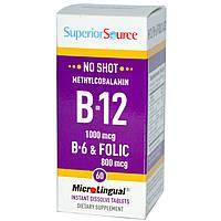 Superior Source, Метилкобаламин B-12, 1000 мкг, B-6 и фолиевая кислота 800 мкг, MicroLingual, 60 таблеток