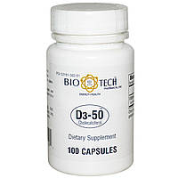 Bio Tech Pharmacal, Inc, D3-50, холекальциферол, 100 капсул