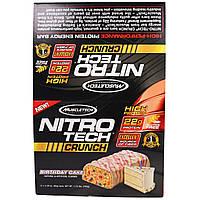"""Muscletech, """"Нитротех"""", хрустящие батончики со вкусом торта ко дню рождения, 12 батончиков по 2,29 унций (65 г)"""