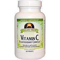 Source Naturals, Истинно Веган, Витамин C, Комплекс растительных антиоксидантов, 60 таблеток