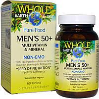"""Natural Factors, Пищевая добавка """"Непочатое море и земля"""", мультивитаминный и минеральный комплекс для мужщин от 50, 60 таблеток"""