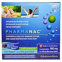 """BioAdvantex Pharma, """"ФармаNАЦ"""", пищевая добавка с N-ацетилцистеином, со вкусом розового ягодного взрыва, 900 мг, 24 шипучих таблетки"""