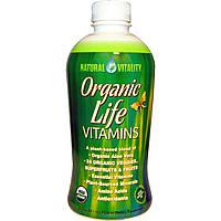 Natural Vitality, Витамины Organic Life, со вкусом органической малины и клюквы, 30 жидких унций (887 мл)