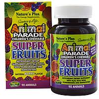 Nature's Plus, Source of Life, жевательные конфеты для детей «Парад животных», натуральный ягодный вкус, 90 «животных»