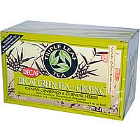 Triple Leaf Tea, Зеленый чай без кофеина с женьшенем, 20 пакетиков по 40 г