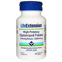 Life Extension, Высокоактивный оптимизированный фолат, 5000 мкг, 30 вегетарианских таблеток