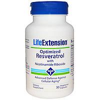 Life Extension, Оптимизированный ресвератрол с никотинамидрибозидом,30 вегетарианских капсул